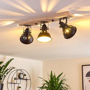 Tina Ceiling Light black, Dark wood, 3-light sources