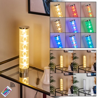 Hatara Table lamp LED chrome, 1-light source, Remote control, Colour changer