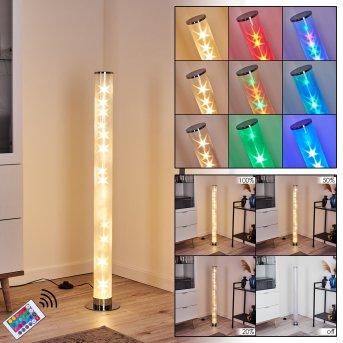 Hatara Floor Lamp LED chrome, 1-light source, Remote control, Colour changer