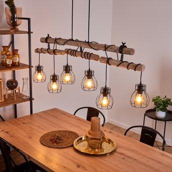Gondo Pendant Light black, Light wood, 6-light sources