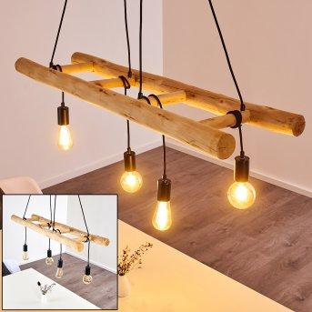 Palmetto Pendant Light black, Light wood, 4-light sources