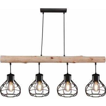 Globo CLASTRA Pendant Light black, Dark wood, 4-light sources