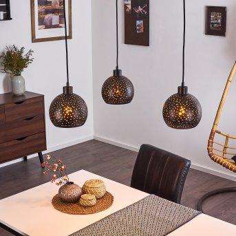 Imana Pendant Light black, Dark wood, 3-light sources
