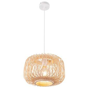 Globo LUCIA Pendant Light white, Light wood, 1-light source