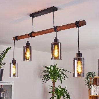 Hunouri Pendant Light black, Dark wood, 4-light sources