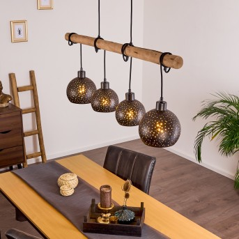 Imana Pendant Light black, Light wood, 4-light sources