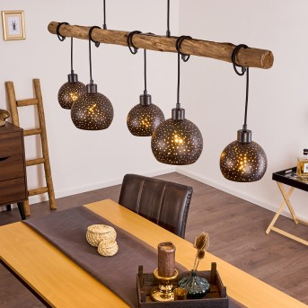 Imana Pendant Light black, Light wood, 5-light sources