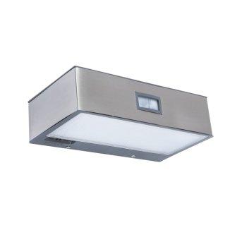 Lutec BRICK Wall Light LED stainless steel, 1-light source, Motion sensor