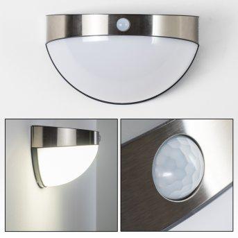 PORI outdoor wall light LED chrome, 1-light source, Motion sensor