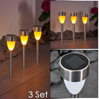 GORIZIA solar light LED stainless steel, 3-light sources