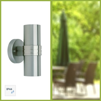 Brillliant Hanni Outdoor Wall Light silver, 2-light sources