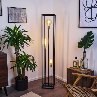 Woden Floor Lamp brass, black, 3-light sources