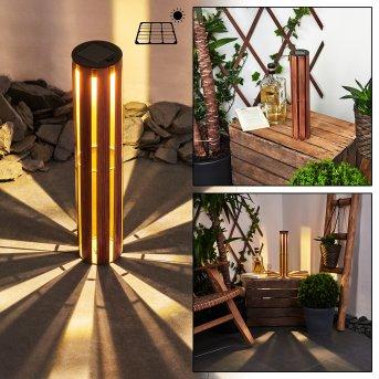 Hankinson solar light LED black, copper, Dark wood, 1-light source