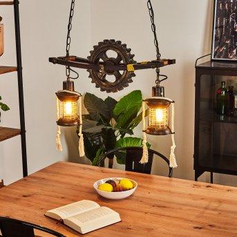Taktak Pendant Light Dark wood, antique brass, 2-light sources