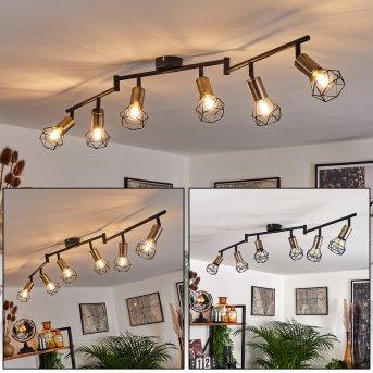 Baripada Ceiling Light brass, black, 6-light sources