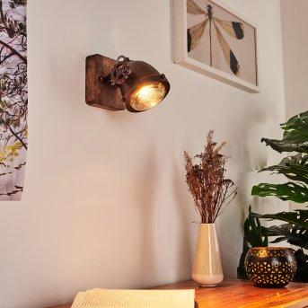 Herford Wall Light rust-coloured, Dark wood, 1-light source