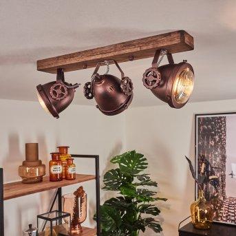 Herford Ceiling Light rust-coloured, Dark wood, 3-light sources