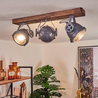 Herford Ceiling Light grey, Dark wood, 3-light sources