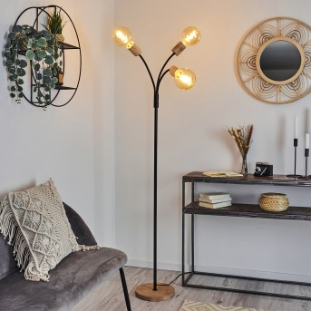 Vasanello Floor Lamp black, brown, 3-light sources