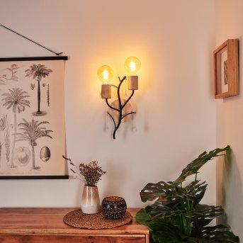 Rommentorp Wall Light black, white, Light wood, 2-light sources