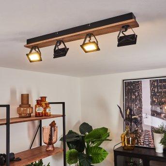Giresta Ceiling Light LED black, Dark wood, 4-light sources