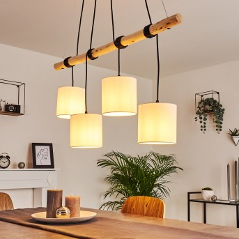 Betsele Pendant Light black, Light wood, 4-light sources