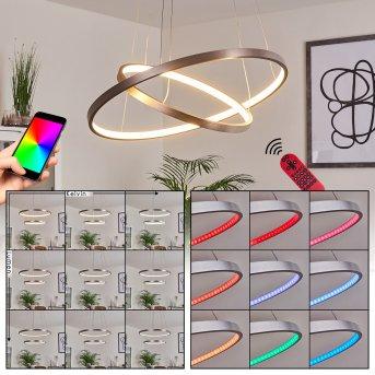 Canisteo Pendant Light LED silver, 2-light sources, Remote control, Colour changer
