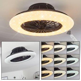 Piraeus ceiling fan LED black, 1-light source, Remote control