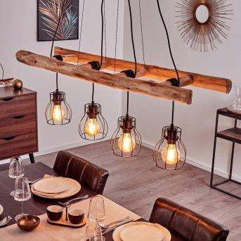 Gondo Pendant Light black, Light wood, 4-light sources