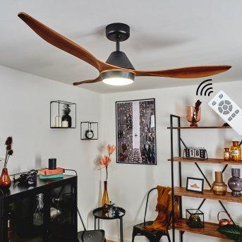 Follseland ceiling fan LED black, dark brown, Wood like finish, 1-light source, Remote control