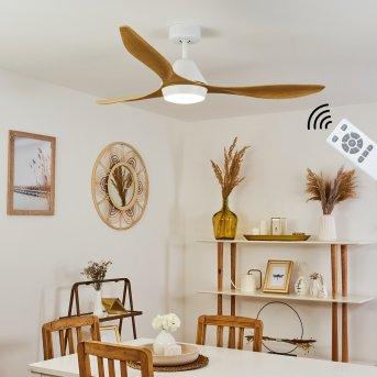 Follseland ceiling fan LED white, light brown, Wood like finish, 1-light source, Remote control