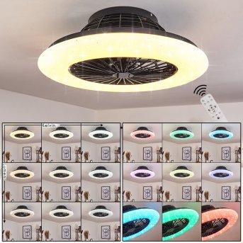 Pireaus ceiling fan LED black, 1-light source, Remote control, Colour changer