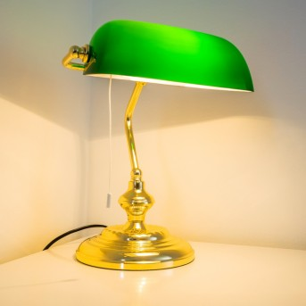 Banker Lamp brass, 1-light source