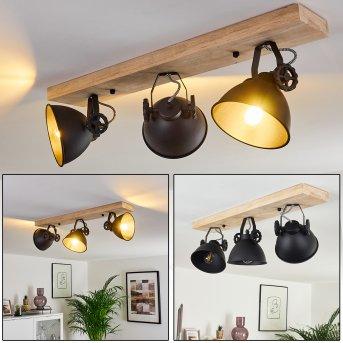 SVANFOLK Ceiling Light black, Light wood, 3-light sources