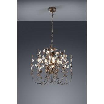 Trio NAPOLI chandelier dark brown, rust-coloured, 4-light sources