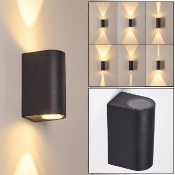 KOMOREN Outdoor Wall Light LED black, 2-light sources