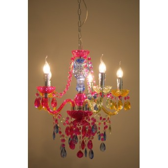 Reality chandelier colourful, 5-light sources