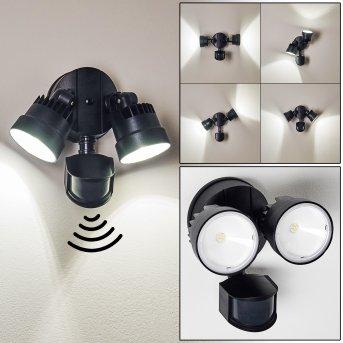 EMMERLEV Outdoor Wall Light LED black, 2-light sources, Motion sensor
