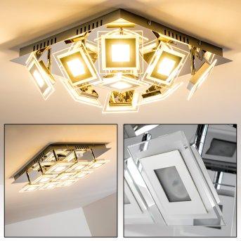 Cerreto ceiling light LED chrome, 9-light sources