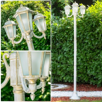 NATAL FROST Lamp Post white, gold, 3-light sources