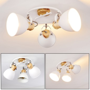 Banjul Ceiling Light white, Light wood, 3-light sources