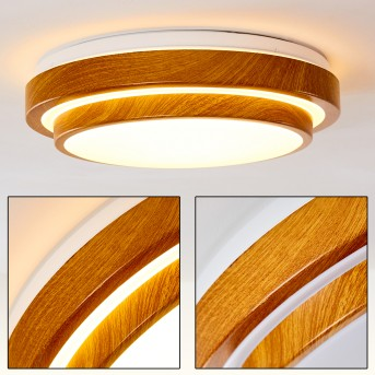 SORA WOOD Ceiling light LED white, light wood, 1-light source