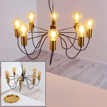 Gnarp Pendant Light black-gold, 8-light sources