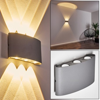 Abaiang Outdoor Wall Light LED silver, 6-light sources