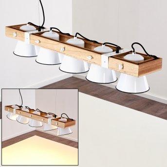 OKSBOL Pendant Light white, Light wood, 5-light sources