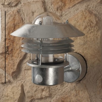 Nordlux Vejers wall light stainless steel, transparent, clear, galvanized, 1-light source, Motion sensor
