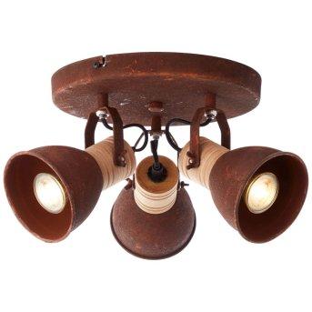 Spotlight Brilliant Frieda rust-coloured, Dark wood, 3-light sources