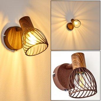 Wall Light Arjen rust-coloured, Dark wood, 1-light source