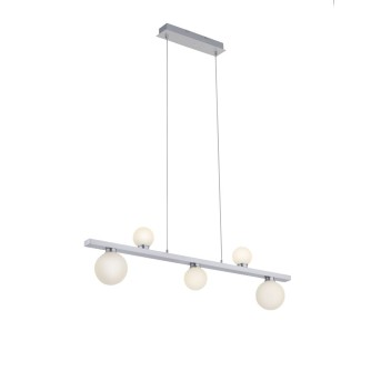 Trio Leuchten DICAPO Pendant Light LED matt nickel, 5-light sources, Remote control, Colour changer