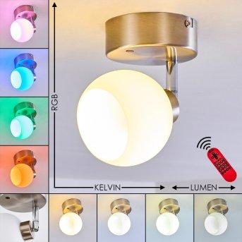 Motala Ceiling Light LED matt nickel, white, 1-light source, Remote control, Colour changer